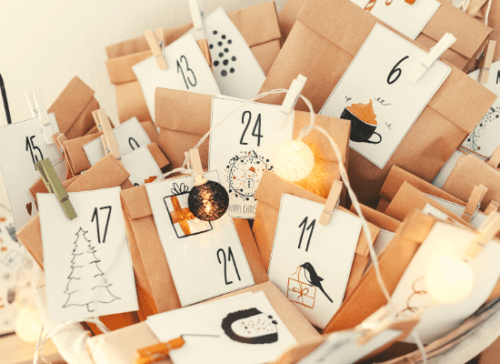 Calendrier de l'avent zéro déchet moments objet consommation nourriture